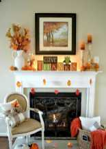 DIY Fall Living Room Decoration With Fireplace Ideas0011