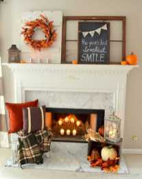 DIY Fall Living Room Decoration With Fireplace Ideas0016