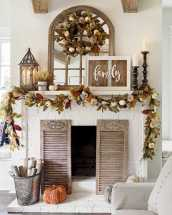 DIY Fall Living Room Decoration With Fireplace Ideas0018
