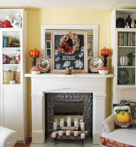 DIY Fall Living Room Decoration With Fireplace Ideas0028