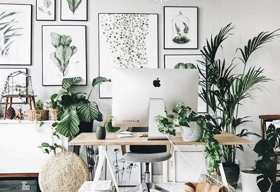A Chic Neutral Home Office With A Large Gallery Wall, Potted Greenery And Plants, A Trestle Desk And Some Vintage Suitcases