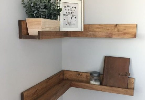 Simple Stained Corner Shelves