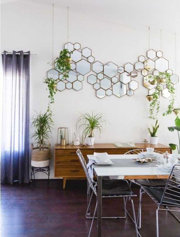 A Hex Framed Mirror Arrangement Is A Cool And Eye Catchy Decoration For This Space
