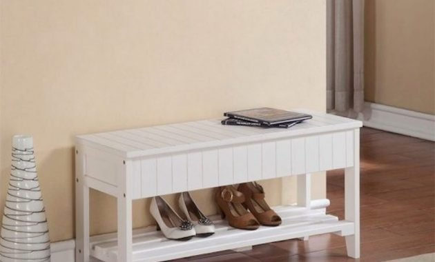 All White Entryway Bench Wood Slated With Bottom Shelf And Flip Top Storage