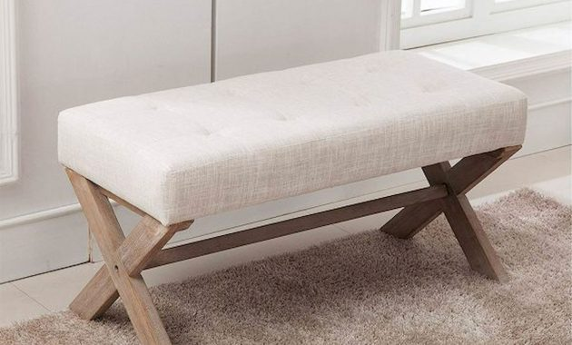 Entryway Bench With X Shaped Legs Wustic Wood And White