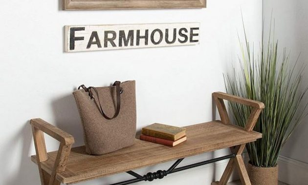 Farmhouse Style Entryway Bench With Black Metal Accent Weathered Wood Finish Rustic