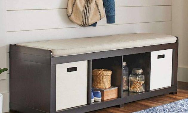 Long Entryway Bench With Storage Shelves Cubbies And Removable Beige Cushion