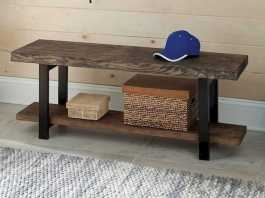 Rustic Reclaimed Wood Entryway Bench Black Metal Legs And Bottom Shelf