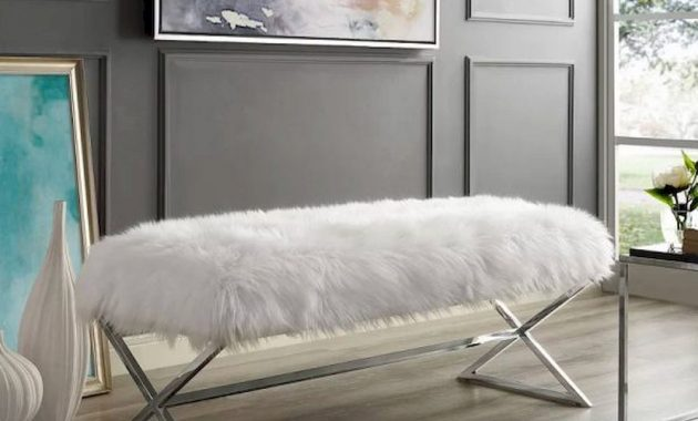 White Faux Fur Entryway Bench With Polished Chrome Legs