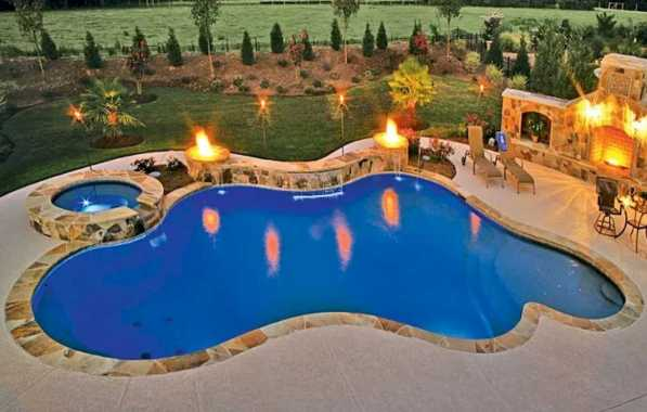 Custom Swimming Pool Lighted By Glamorous Lights