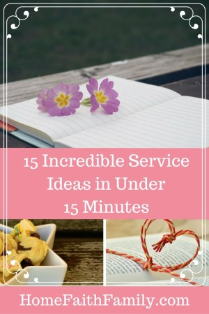 This list of 15 incredible and easy service ideas are all under 15 minutes and will make a lasting impact on the receiver and the giver. With time-saving tips and do-able ideas, you will find your next service idea here. Click to read and find your next project. Number 5 and 12 are some of my favorite ideas. Click to read.