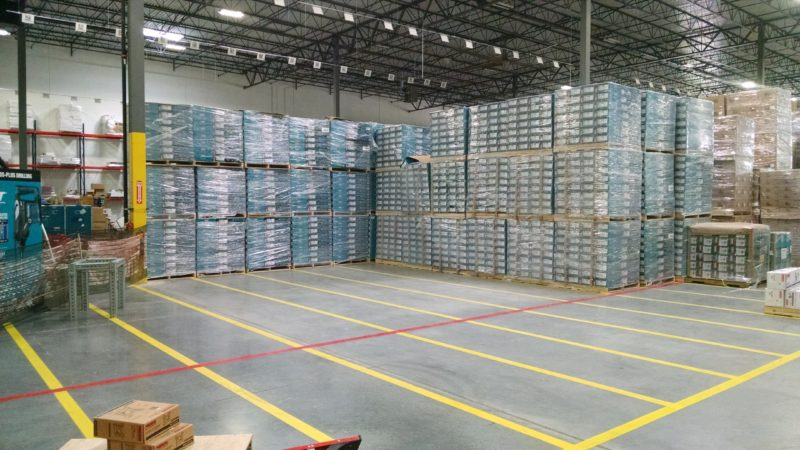 pallets of boxes in warehouse