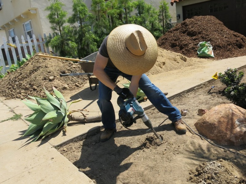 digging with a jackhammer