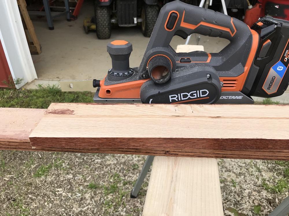planer on oak boards