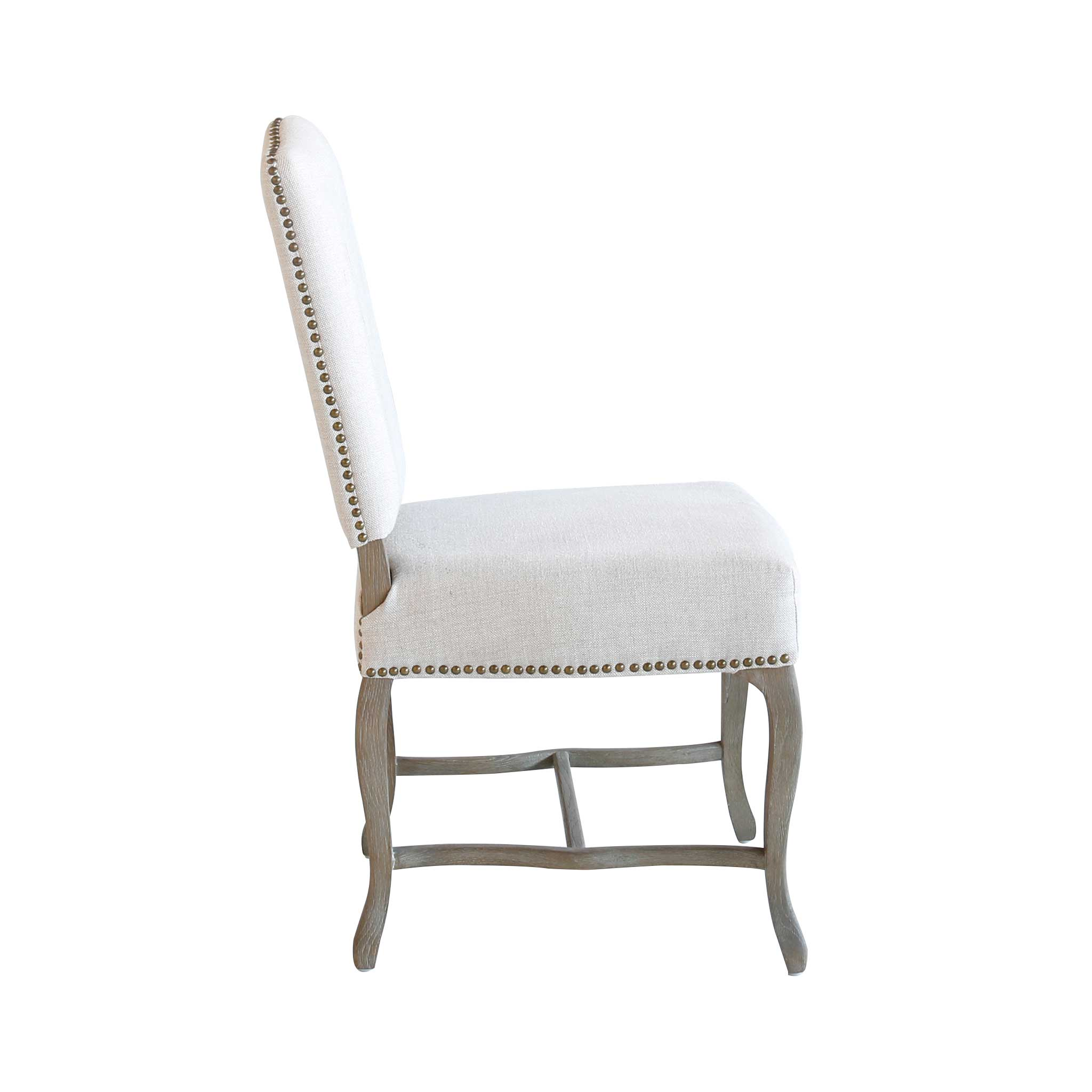 Studded Dining Chairs Candide Linen Oak Studded Dining Chair Set Of 2