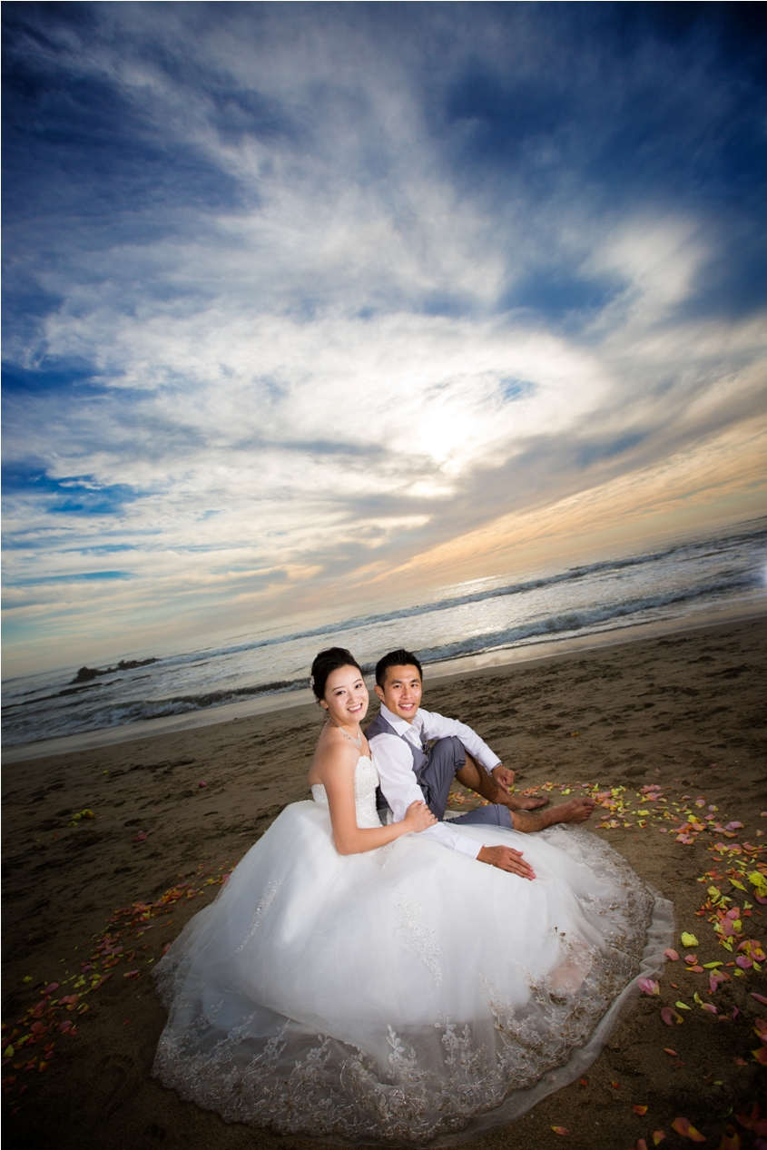 Trash the dress photography after wedding at Half Moon Bay Golf Link