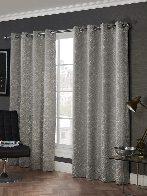 Grey Geometric Pattern Eyelet Curtains Pair  Lisbon Collection  Homefords
