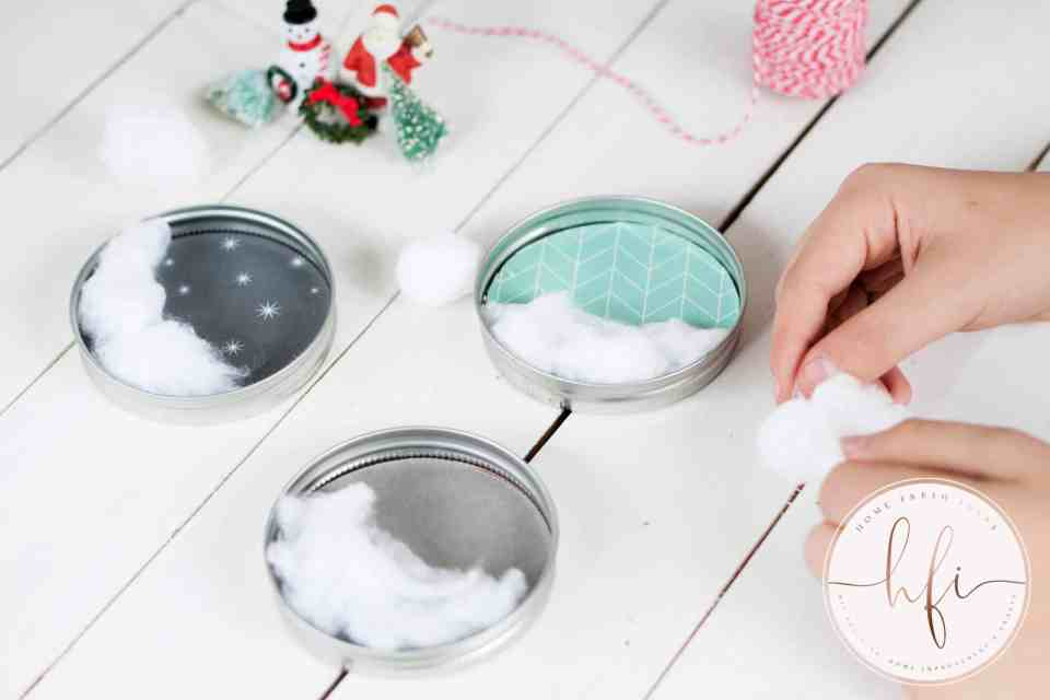 putting cotton in ornaments