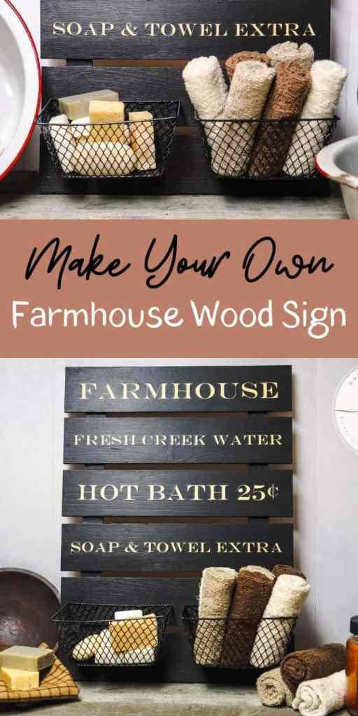DIY Farmhouse Wood Sign - Pin Image