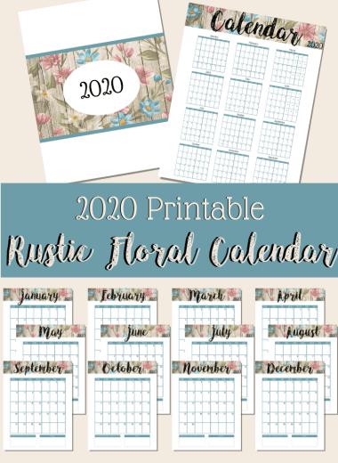 Rustic Free Printable 2020 Calendar - PIN Image