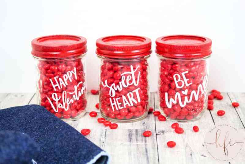 three valentine's jars