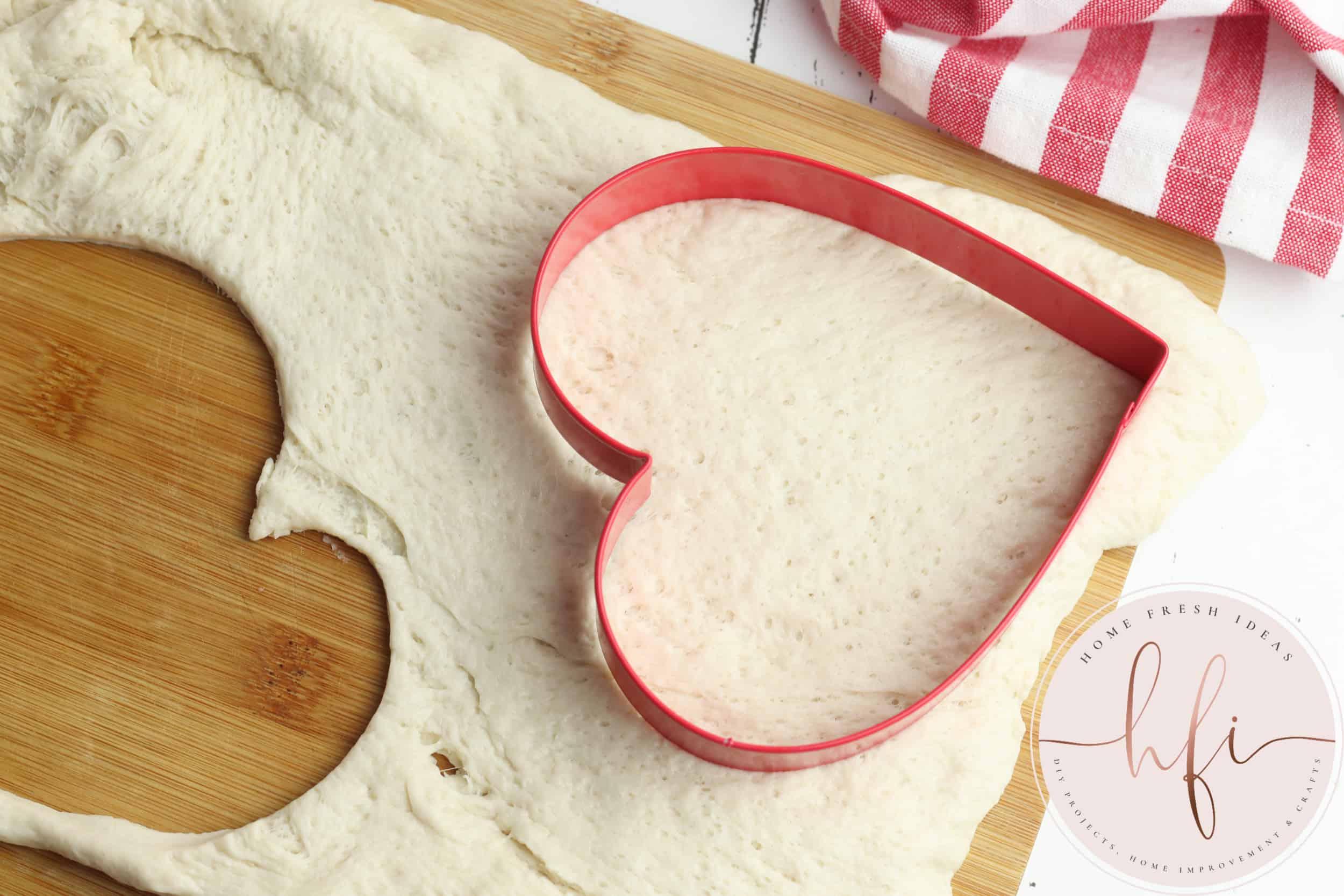 cutting crust with a cookie cutter