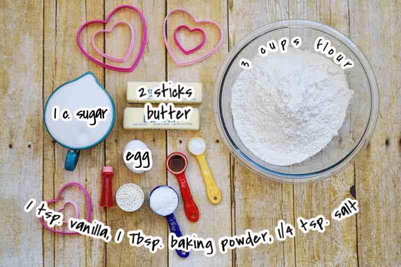 ingredients for valentine cookies