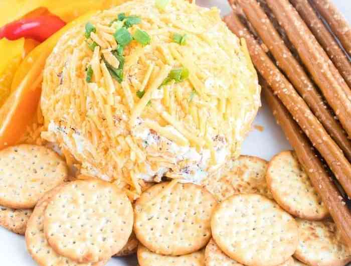 Cheese Ball Recipe With Bacon You Need To Make - You don't want to miss this Cheese Ball Recipe! It's filled with cream cheese, bacon, green onions, and is covered in lots of shredded cheddar cheese. #appetizer #holiday #christmas #newyears #tailgate #party #homefreshideas