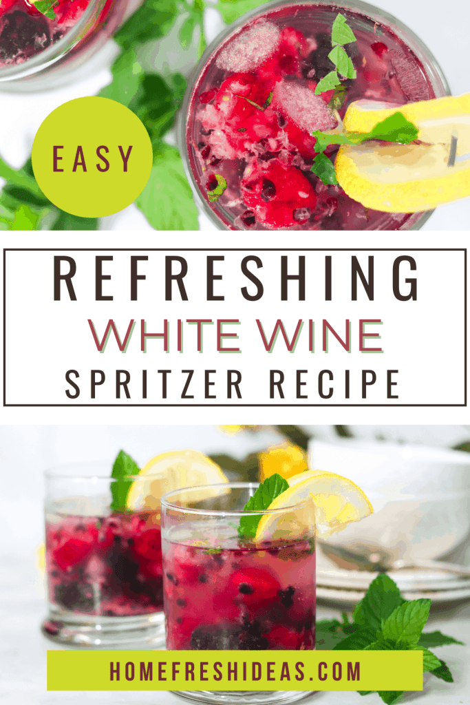 Berry White Wine Spritzer Recipe - This Berry White Wine Spritzer is a refreshing drink to enjoy at the end of the day. Made with fresh blackberries, raspberries, sparkling water, mint, and sparkling wine! #spritzer #cocktail #wine #homefreshideas