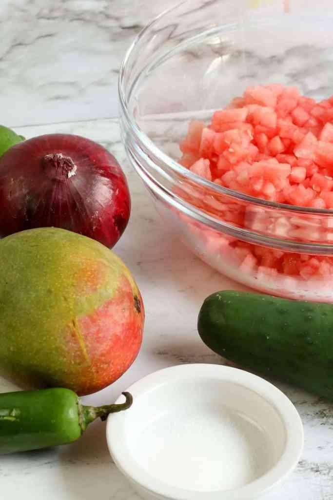 watermelon salsa ingredients on counter