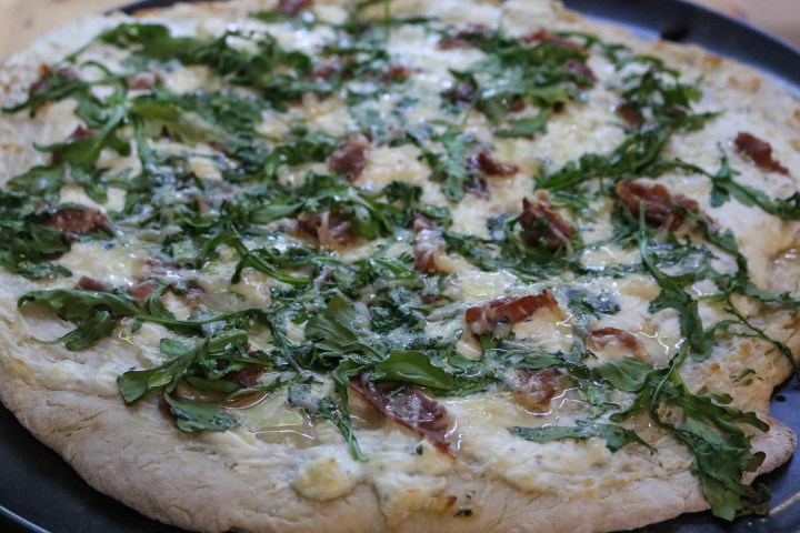 Arugula White Pizza with Prosciutto and Honey
