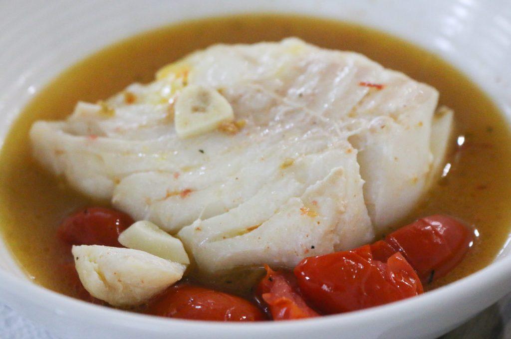 Poached Cod with Saffron + Tomato