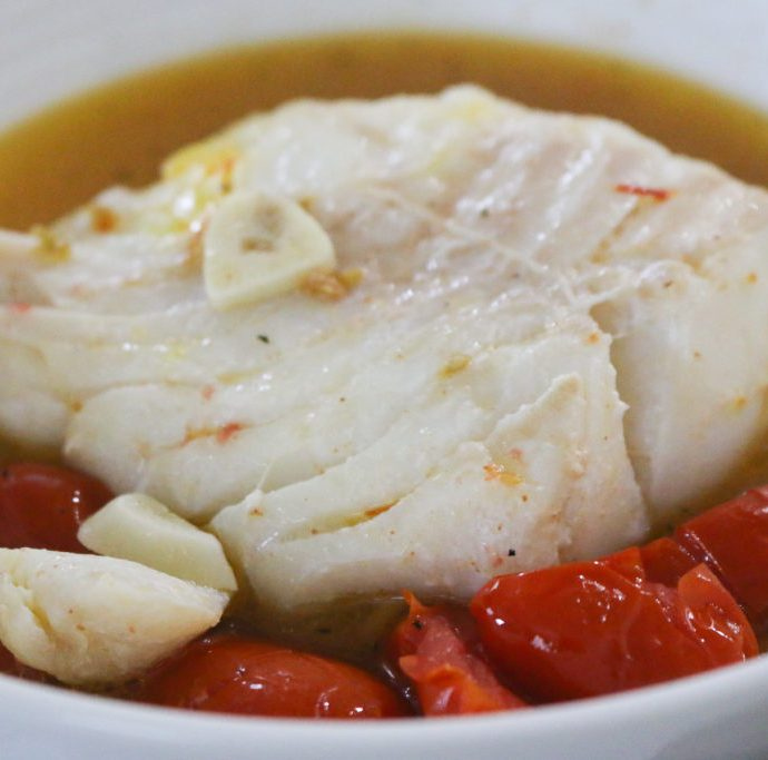 Poached Cod with Saffron + Tomato