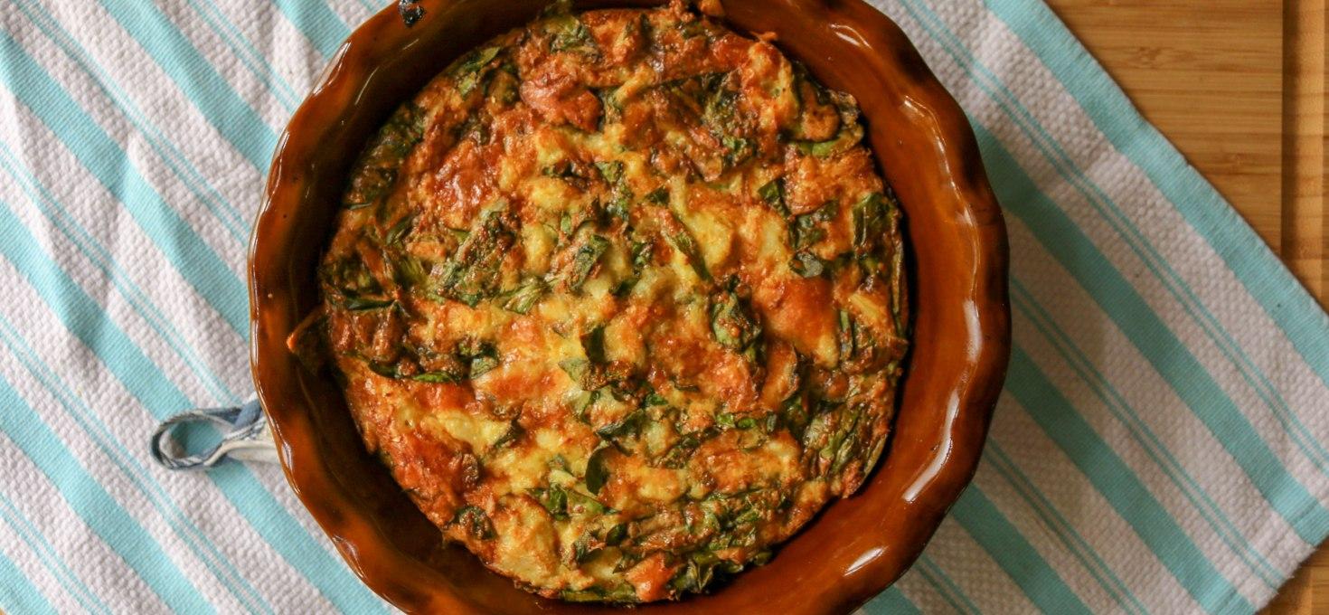 Crustless Crab + Spinach Quiche