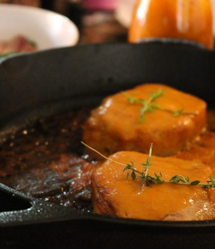 Bourbon and Peach Glazed Pork Chops