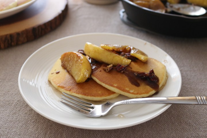 Cinnamon Caramel Apple Pancakes with Pecans