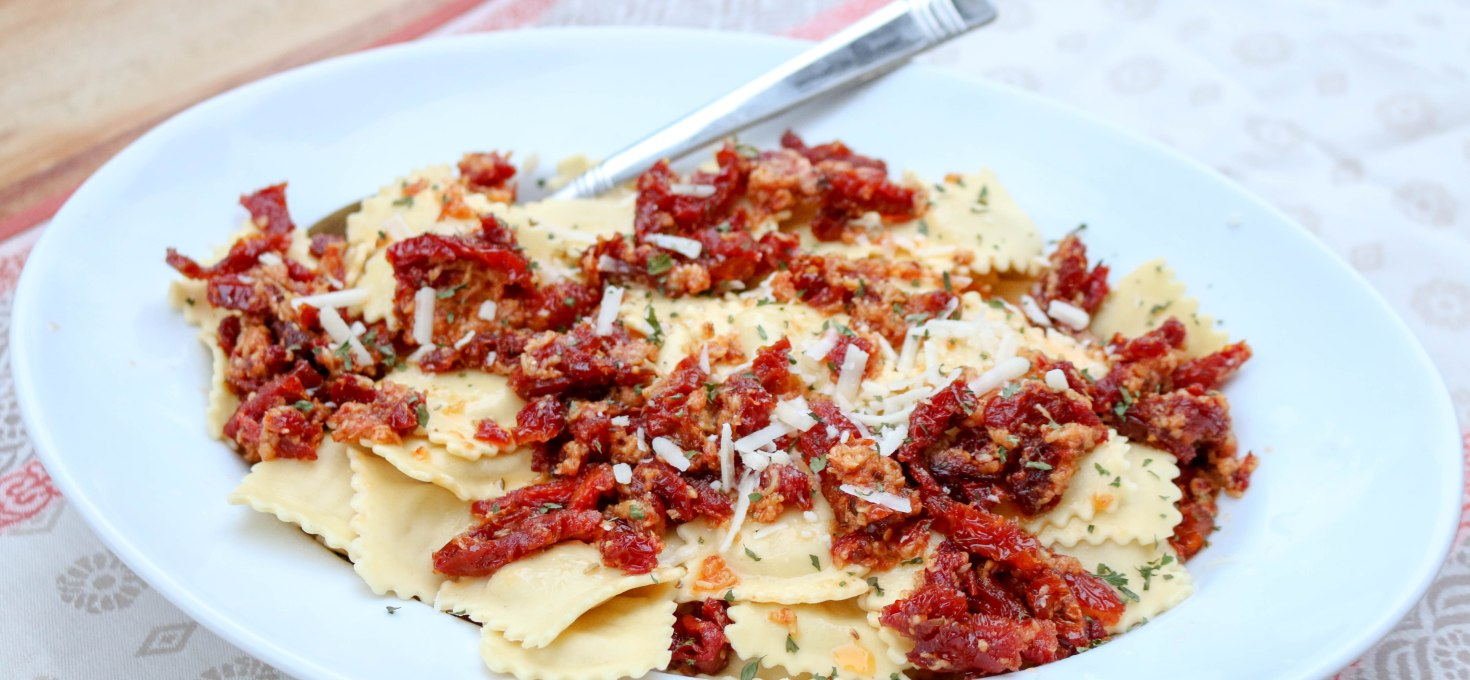 Butternut Squash Ravioli with Sundried Tomatoes