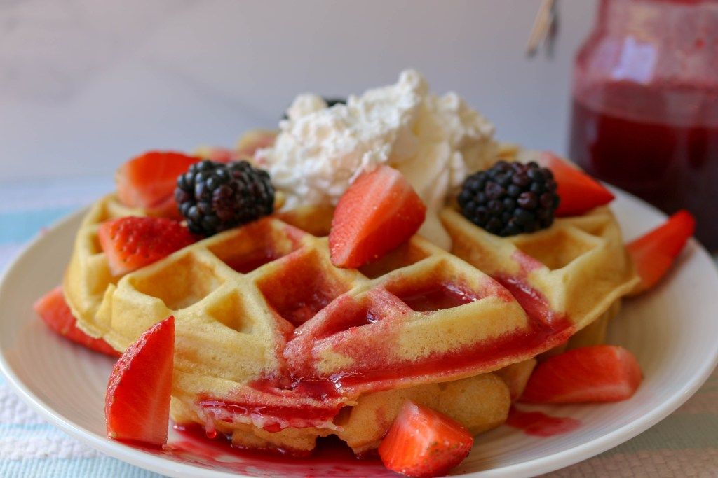 buttermilk belgian waffles blackberry syrup