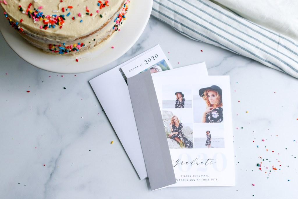 vanilla funfetti cake with graduation announcements