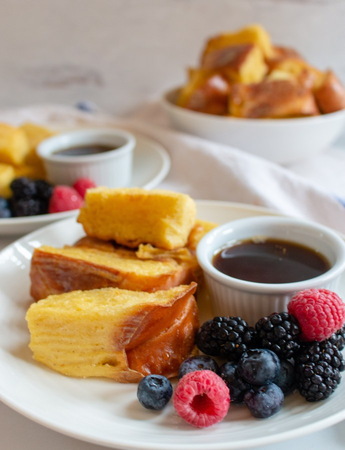 Baked Challah French Toast Sticks with Berries