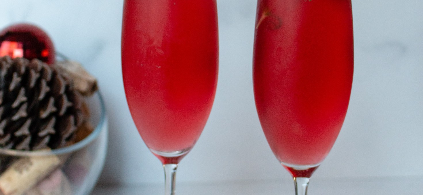Sparkling Rosemary Cranberry Mimosas
