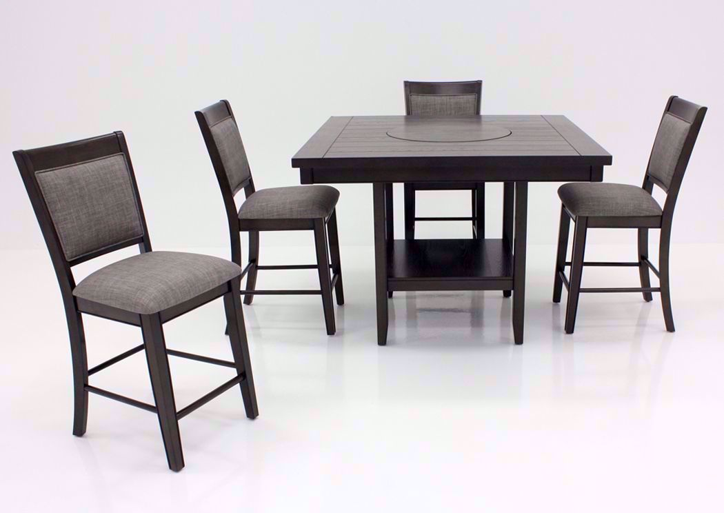 Fulton 5 Piece Counter Height Dining Table Set Gray Home Furniture Plus Bedding