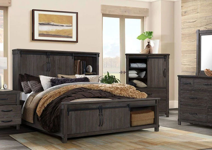 scott queen size storage bedroom set dark brown