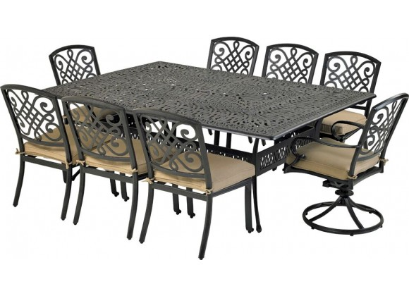 Patio Resort Lifestyles Bridgetown 9 Piece Dining Set With 84 X 60 Monarch Dining Table With Sunbrella Heather Beige Cushions Home Furniture And Patio