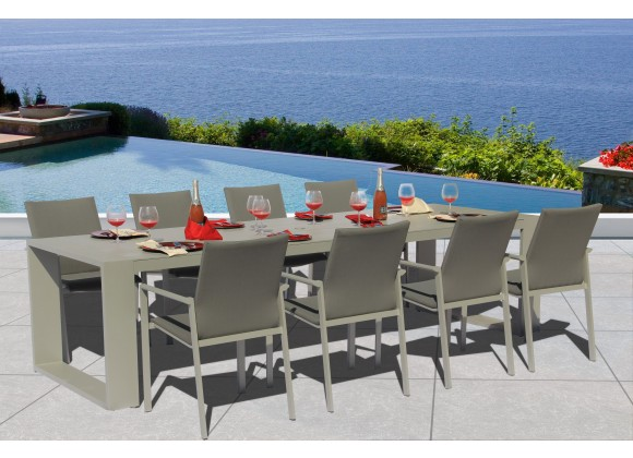 bellini home and garden ritz 9pc outdoor dining set in warm grey white