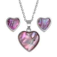 """Ladies Girls Pink Heart Silver Pendant Necklace 18"""" & Stud ..."""