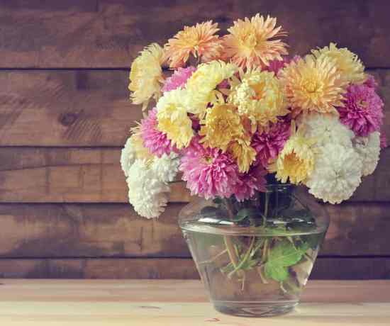 picture of different types of chrysanthemums in a bouquet
