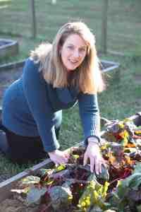 writer Jeanne Grunert in her garden