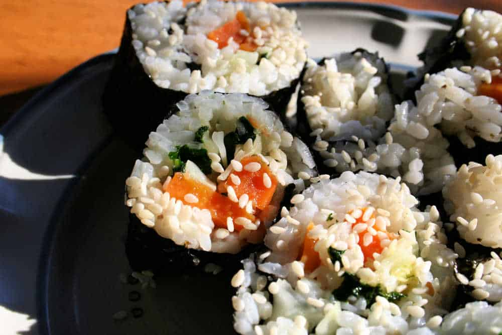 Sushi made from sweet potatoes.