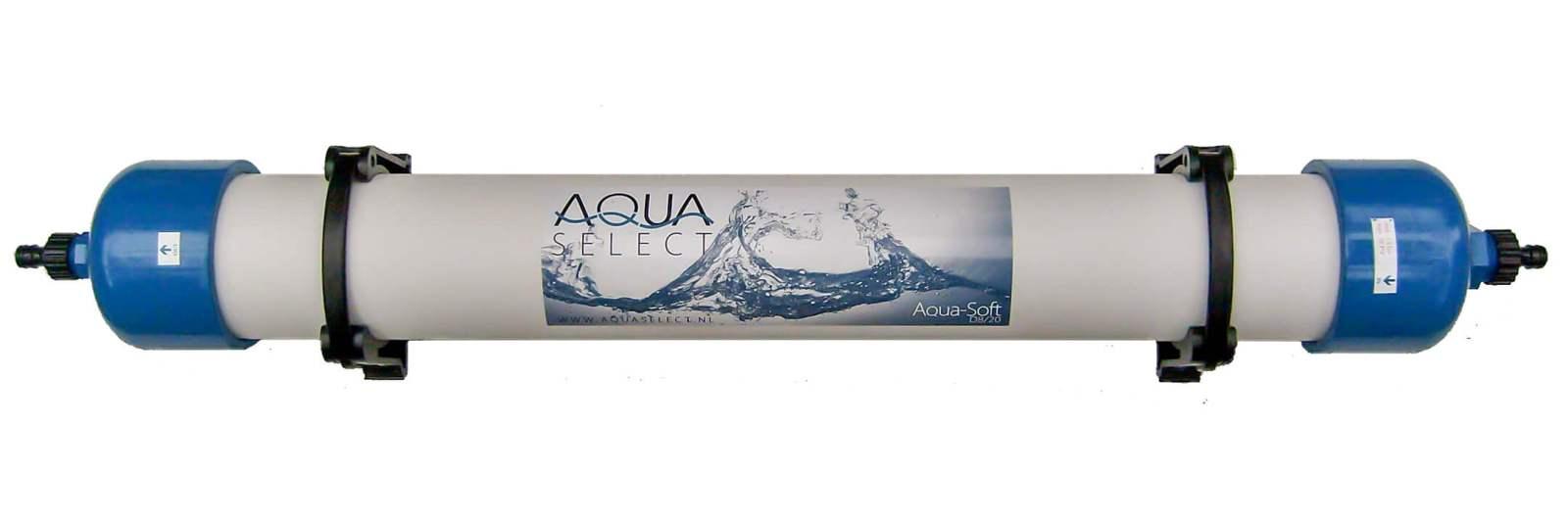 Illustratie: foto (bovenaanzicht) van de Aqua Soft D8/20 waterontharder van Aqua Select.